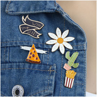Wholesale Diy Metal Badges - Wholesale- Handmade DIY Hot Selling Fashion Cartoon Enamel Mini Button Brooch Pin Metal Badges Cactus Chips Pizza Flower Accessories