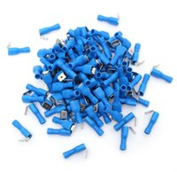 Wholesale Insulated Terminals Kit - 100Pcs Insulated Blue Piggy Back Splice Wire Cable Connector Crimp Electrical Terminals Kit Set Tool Part