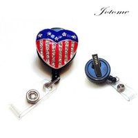 Wholesale Flag Pin Badges - Office of the trend of fashion accessories Rhinestone Bling Crystal reel retractable ID badge holder - American Heart Flag