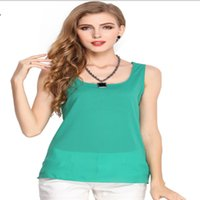 Wholesale 2017 new hot summer European women candy color shirt chiffon shirt harness bottoming shirt sleeveless chiffon vest