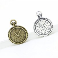 Wholesale Trendy Clocks - Sweet Bell Min order 30pcs 21*29mm Clock Charm two color Metal Zinc Alloy Trendy Custom Jewelry Time Charms Pendant D1126