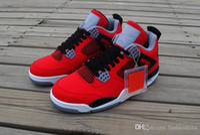 best toro bravo basketball shoes  - Sport Sneakers Air Retro 4 Toro Bravo Fire Red White Black Cmnt Grey Sports Retros 4s 308497 603 Men's Basketball Shoes With Box