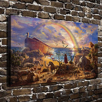 Wholesale Rainbow Canvas Art - HD Printed Thomas Kinkade Oil Painting Home Decoration Wall Art on Canvas Sea Animals Rainbow 24x36inch Unframed