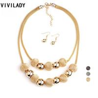 Wholesale Layer Metal Earrings - VIVILADY Fashion Handmade Net Beads Metal Layer Chain Jewelry Set Women Bijoux Necklace Earrings Costume Jewelry Party Gifts