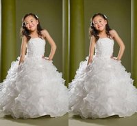 Wholesale Organza Dresses For Children - Puffy Lovely Formal Girls Pageant Dresses Children Sequins Beads Floor Length Flower Girls Dresses For Weddings Custom Made Kids Party Gowns