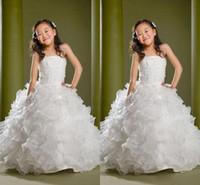geschwollene kinder kleiden großhandel-Puffy Schöne Formale Mädchen Pageant Kleider Kinder Pailletten Perlen Bodenlangen Blumenmädchenkleider Für Hochzeiten Nach Maß Kinder Party Kleider