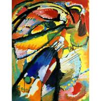 pinturas de angel al por mayor-Pinturas modernas de alta calidad de Wassily Kandinsky Ángel del juicio final Óleo sobre lienzo Decoración para el hogar