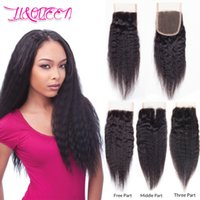 Wholesale Straight Closure Density - Brazilian Virgin Human Hair 4x4 Lace Closure Kinky Straight Weaves Closure Full Density Unprocessed Natural Color Kinky Straight