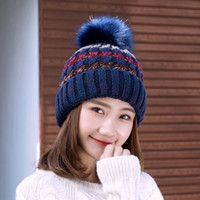 Wholesale Knit Cloche Hats Wholesale - 2017 Keep Warm Thin Elegant Women Girl Knitted Hats Warmed Fur Cap Autumn Winter Ladies Female Fashion Hairball Hat SK86