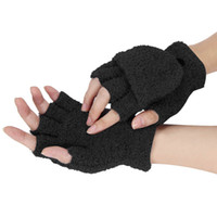 Wholesale Cotton Gloves Keep Warm - Wholesale- 2017 New Fashion Women Girls Wrist Flip Gloves Solid Color Thick Warm Fingerless Winter Gloves Soft Keep Warm Gloves 6 Colors
