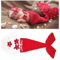 Wholesale baby summer sleeping bag - baby Handmade Mermaid photography Costume Baby photography Baby Mermaid Photo Props 1lot=3pcs=headdress flower+corsage +Sleeping bag