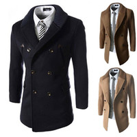 Wholesale Korean Winter Fashion For Male - Male costume Korean winter Knit collar jacket Double-breasted long jacket show for singer dancer stage party outdoors fashion performance