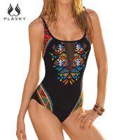 Wholesale Animal Print Monokini Swimwear - PLAVKY Sexy Colorful Aztec Geometric Print Black Mesh Trikini Swim Wear Bathing Suit Monokini Swimwear Women One Piece Swimsuit