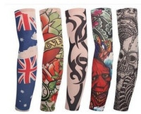 Wholesale Tattoo Sleeve Stripe - Fashion Tattoo Cuff Arm Tattoo Stockings Art Tattoo Stripe Sleeve Anti UV Unisex Arms Costume Wears Mix Color