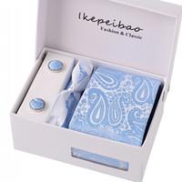 ingrosso set di clip 925 cravatta-Ikepeibao New Blue Floral Cravatte Set cravatta Gemello Hanky Ampia cravatta Gravata Corbatas Colar Cravatte per uomo Business Lota