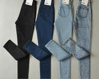 Wholesale Euro Style Pant Women - Free shipping Euro-American style collections Women's Skinny Jeans High waist Elastic cropped trousers high-quality Pencil pants
