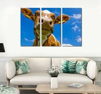 Wholesale pictures cows - 3pcs set Unframed Head Of the Cow HD Print On Canvas Wall Art Painting Art Picture For Home Decor