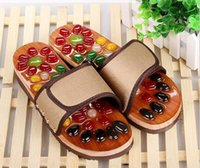 Wholesale Health Massage Shoes - Wholesale-2016Natural Pebbles massage slippers massage point health foot massage shoes summer men and women soft bottom home cool slippers