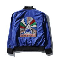 Wholesale European Clothing Men Jacket - 2017 tide brand winter and new men's clothing European and American embroidery craft shark pattern men's thin coat jacket