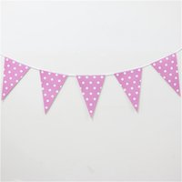 Wholesale set pink polka dot banners theme party paper flags colours baby boy favor birthday party decoration party supplies