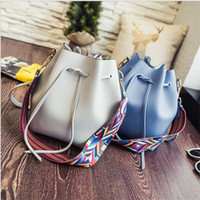 Wholesale Colored Leather Shoulder Bag - 2017 New fashion hot sale Korean shoulder bags tote crossbody messenger bag handbags brand names colored belt bucket shape PU Leather wholes