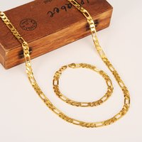 Wholesale 18k solid yellow gold filled resale online - Fashion K Solid Yellow Gold Filled Men s OR Women s Trendy Bracelet cm cm Necklace Set Figaro Chain Watch Link Set