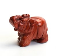 Wholesale 2 INCHES Natural Red Jasper Stone Carved Crystal Reiki Healing Elephant Statue with a Velvet Pouch