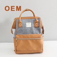 Wholesale Beige Tones - 8 colors Anello brand backpack bags high quality Pu Linen ladies small size shoulder bags Cotton Polyester casual school handbags