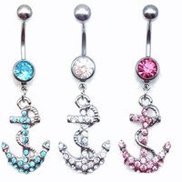 Barato Âncora Umbigo Anéis-FashionAttractive âncoras Dangle Belly Button Anéis Body Piercing Ouro Sexy Navel anéis Free shipping