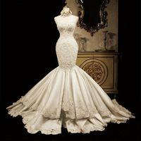 Wholesale Diamond Backed Wedding Dress - 2016 Mermaid Wedding Dress Vintage Bateau Neck Lace Appliqued Sheer Back Tulle Court Train Church Bridal Gowns luxury Diamond Mermaid dress
