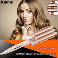 Wholesale Pearl Curling Wand - curling 110-240V Professional Triple Barrel Ceramic Wave Waver Curling Wand Tong Hair Pearl Waving Styling Tools Twiste Iron
