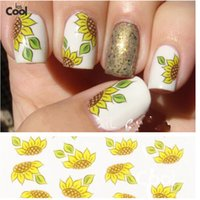 Wholesale Nail Stickers Sunflowers - Wholesale- 1 Sheet Yellow Sunflower Water Transfer Stickers Decals Foil Wraps Decoration DIY Polish Nail Accessories Styling Tools STZ-144
