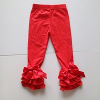 Wholesale Tight Panties Child - christmas red color winter leggings spandex and cotton ruffle panties children novelty leggings wholesale kid dress