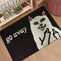 Wholesale cat toilets - Cat With Middle Finger Door mats Coral velvet carpet Humorous Funny Words Go Away Entrance Indoor Floor Mat Non-slip Doormat rug