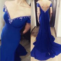 ingrosso vestito chiffon blu da promenade della sirena-Sexy blu royal scollo a V sirena lunghi prom dresses backless chiffon abiti da sera abiti da ballo abiti occasioni speciali