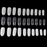 Wholesale White Tip Full French Nails - 500 PCs Oval Full Round Acrylic French False Fake Nail Tips White Natural Clear