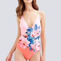 Nuovi floreali floreali un pezzo costume da bagno Donna Swimwear V collo spingere Monokini fasciatura body Saddle backless Beach Wear costume da bagno
