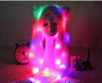 Rainbow Light Up LED Peluche Fox blanc Fox pleine longue capuche pour animaux Capuche Fluffy Chapeau Faux Fur 3 en 1 Winter Warm Function Movies