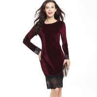 Wholesale Top Fashioned Designs Dresses - 6 New Design Top Selling Sexy Lace Floral Stitching Swan Long Sleeve Dress Velvet Fashion Hip Pencil Skirt CL261