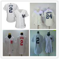 Wholesale Embroidered Shirts Women - New York Yankees Womens Jerseys #2 Derek Jeter Team White Pinstripe Embroidered Ladies Baseball Shirts Hot Female
