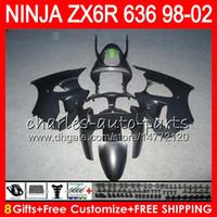 Wholesale Zx6r 98 - 8Gifts For KAWASAKI NINJA ZX6R 98 99 00 01 02 ZX636 ZX-6R ZX-636 Matte black 31HM22 600CC ZX 636 ZX 6R 1998 1999 2000 2001 2002 Fairing kit