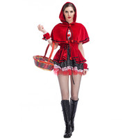 Wholesale Sexy Riding Hood Costume - Little Red Riding Hood Cosplay Fashion Stage Performance Dresses Sexy Lace Side Of The Classic Game Clothing