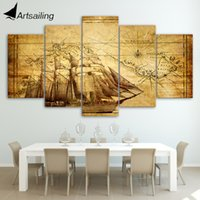 Wholesale Old Framed Painting - HD Printed old map Painting on canvas room decoration print poster picture canvas framed Free shipping ny-987