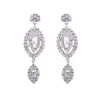 Wholesale Chandelier Teardrops - Teardrop Austria Crystal Silver Earrings Summer Style Jewelry Bridal Long Drop Earrings for Women Wedding Accessory Romantic New