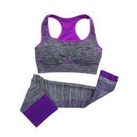 Wholesale Lycra Short Leggings - Women Fitness Workout Clothing Gym Sports Running Girls Slim Leggings Tops Women Yoga Sets Bra+Pants Sport Suit For Female