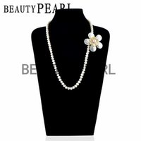Wholesale Pearl Shell Strand - Wedding Bridal Women Pearl Jewelry Flower White Shell Brooch 8-9mm Potato Freshwater White Pearls Strand Necklace