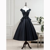 longueur de thé en lacet achat en gros de-2017 Real Pictures Black Formal Long Robes de soirée Wear Satin Lace-up Tea-Length Backless Peplum Nouvelle occasion spéciale pour femmes Robes de bal
