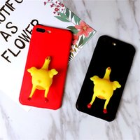 Funny Squishy Soft 3D huevo de gallina TPU Moible Phone Case Laying Hens Cubierta trasera para el iPhone 8/7 / 6s / 6 Plus