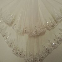 Wholesale Voile Beads - New 1.5 Meters Two Layers Sequined Lace Short Bridal Veil White Ivory Wedding Veils 2017 Voile Mariage Wedding Accessories CPA860