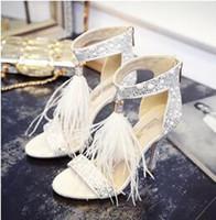 Wholesale High Heels Black Colour - Bohemian Feather Bridal Wedding Pearl Shoe Clip Bling High Heel Wedding Shoes Lady Sandals 2017 4 colours